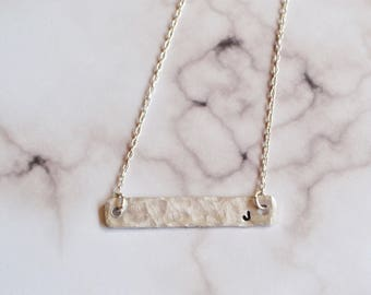 Initial necklace, monogram and name necklace, bar necklace, hammered necklace, stamped necklace, gift for her, custom necklace, personalized