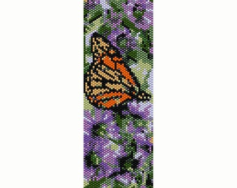 Butterfly on Purple Flowers Peyote Bead Pattern, Bracelet Cuff, Seed Beading Pattern Miyuki Delica Size 11 Beads - PDF Instant Download
