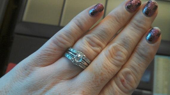 060 carat ctw 14k white gold round diamond ladies anniversary wedding band enhancer guard ring white gold real diamonds ladies ring - Wedding Ring Enhancer