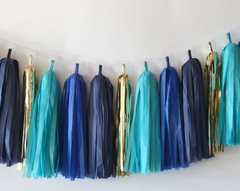Tissue Tassel Garland  //  Turquoise  // Royal Blue  //  Navy   //  Gold  //  Party Decoration  //  Bridal Shower  //  Baby Shower