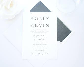 Modern Silver Glitter Wedding Invitations, Glitter Wedding Invitation Suite, Modern Wedding Invites, Wedding Invitation Set - Deposit