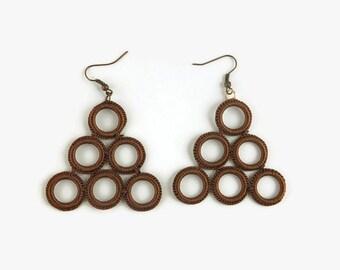 Brown Hoop Earrings, Triangle Earrings, Crocheted, Geometric , Fiber, Textile, Crochet Jewelry,