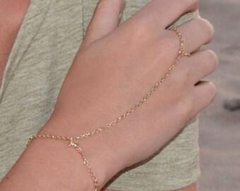 14k gold Filled Finger Bracelet Gold Filled Simple Slave Bracelet/ handmade ring bracelet