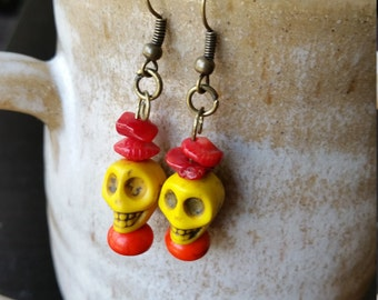 Yellow Sugar Skull Earrings