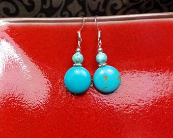Turquoise Sterling Silver Earrings, Turquoise Silver Dangle Earrings, Round Turquoise Earrings