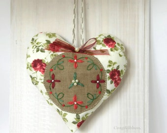 Red Door Pillow Stuffed Hanging Heart in Floral and Linen Fabric  Home Decoration Gift or Wedding Favour