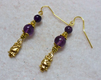 Amethyst Owl Earrings