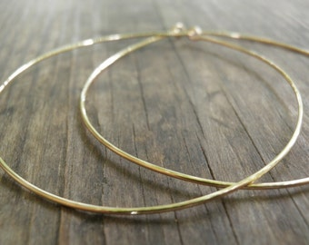 Huge Gold Hoops Earrings, Simple XXL Large  6 cm/2.5 inch Earrings Hand Crafted14k Gold Filled Modern Classic Design Gift Chirstmas Sale