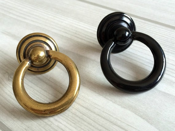 Elegant Black Ring Pull Cabinet Hardware