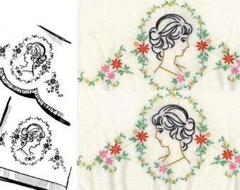 CAMEO Southern Belle - Old Fashion Lady pillowcase embroidery pattern mo2289