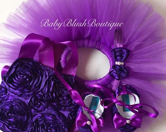Purple Rosette Halter Top Tutu Outfit Costume Set 4 pc, Tutu, Halter Top, Baby Shoes and Headband Other Colors available