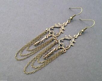 Long Brass Earrings, Chain Chandelier Earrings, Anniversary Earrings, Gift For Her, Filigree, Brown Swarovski Crystal, Neo Victorian Jewelry