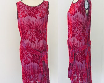 Antique 20's Silk Velvet Flapper Dress l M