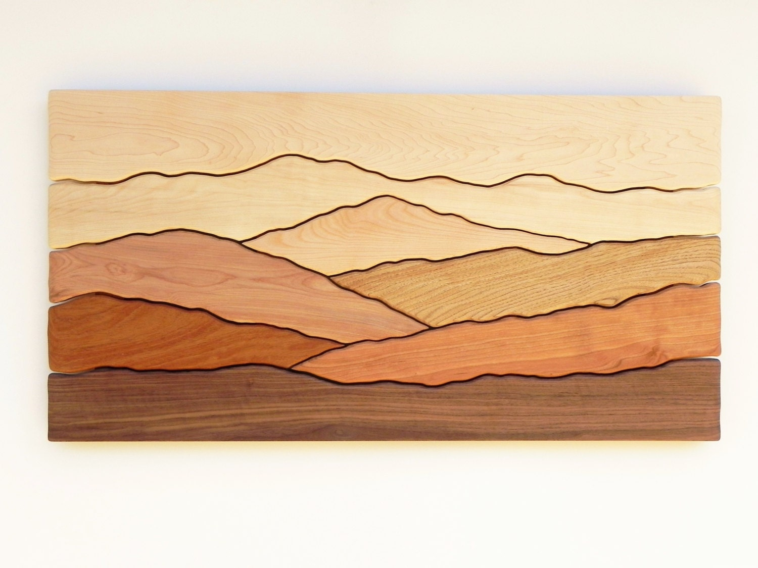 Mountain scene wall art /Sugar maple, Yellow birch, Red birch ...