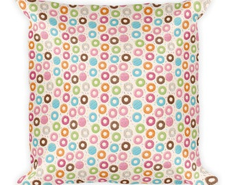 Square Pillow Frosted Donuts - Sweet Throw Pillow - Pastry Lover Cushion - Cute Dessert Pillow - Baker Chef Gift
