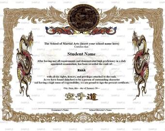Golden Dragon Martial Arts/Karate Rank Belt Certificate Template