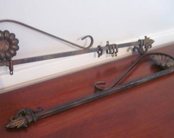 Vintage Swing Arm Curtain Rods, Set of 2, Antique, Edwardian, Art Nouveau