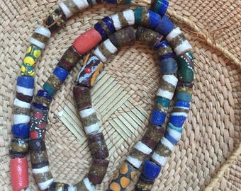 African glass venetian beaded necklace