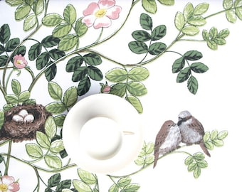 Tablecloth white brown nest birds wild pink rose Rustic table cloth , table runner , napkins , pillow , curtain available, great GIFT