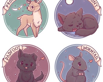 "Kawaii Marauders, Moony, Wormtail, Pafoot and Prongs. Stickers and/ or Prints 8x8"" or 6x6"""