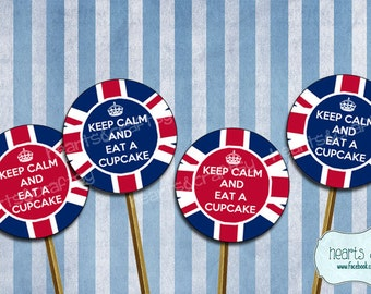 Keep Calm Cupcake Toppers UK Party British Flag Union Jack Printable Tea Cake Topper - FILE to PRINT diy