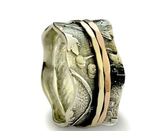 Floral Wide Band, Sterling silver band, Gold Botanical ring, gold spinners ,Vintage ring for woman, floral Wedding band, spinner ring