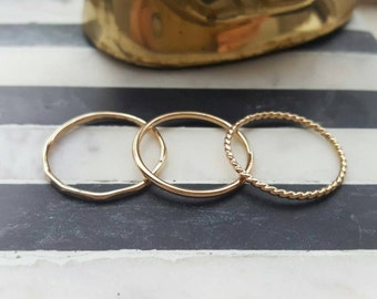 Gold stacking ring set (TWO RINGS); rose gold stacking rings; gold rings, rose gold rings; stackable rings; dainty rings; gold stacking ring