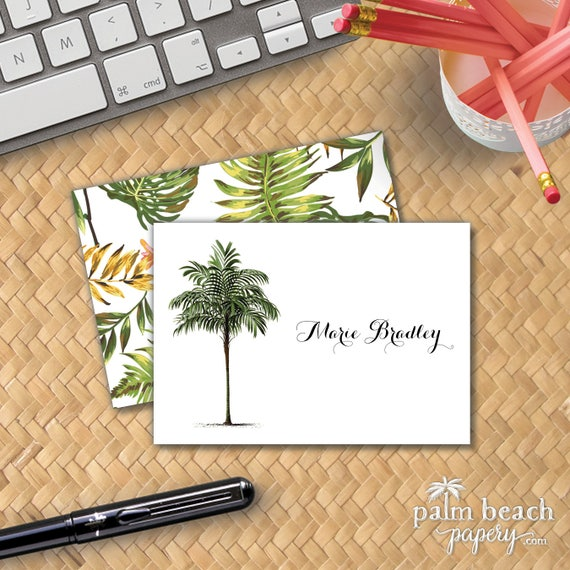 vintage palm tree folded notecards personalized tropical