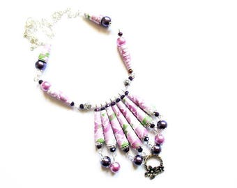 paper cone flowers silver R60 Pearl bib necklace
