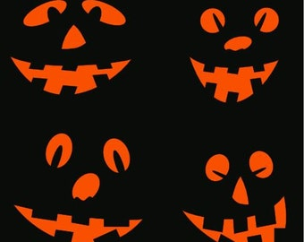 SVG Halloween set of 4 different faces Digital download