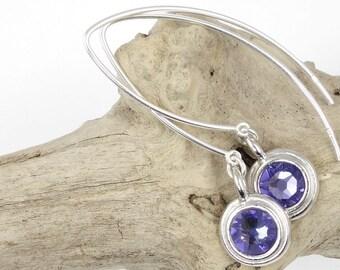 Sterling Silver Earrings Dangle Earring Birthstone Earring Silver Jewelry Personalized Jewelry Gift for Her Minimalist Earring Gift Under 20