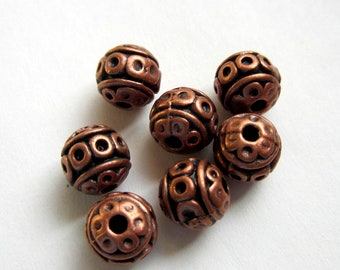30 Red copper beads spacers  lead nickel free 8mm (W5)