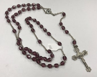 d427 Vintage Chapel Sterling Silver Rosary Glass Beads Crucifix Pendant Necklace
