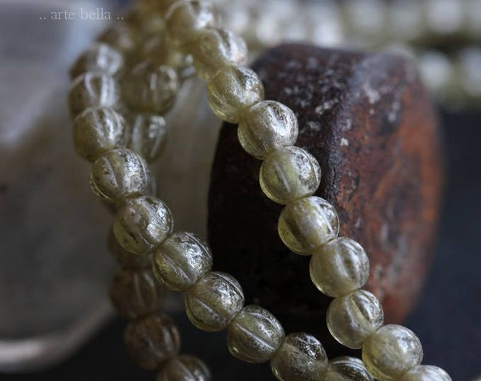CLEARLY SILVERED MELONS .. 50 Picasso Czech Melon Beads 4mm (5997-st)