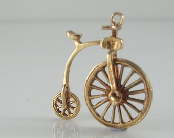 Vintage 3D Nuvo 9ct Gold Movable Penny Farthing Bicycle Charm.H/MK 1972 RP