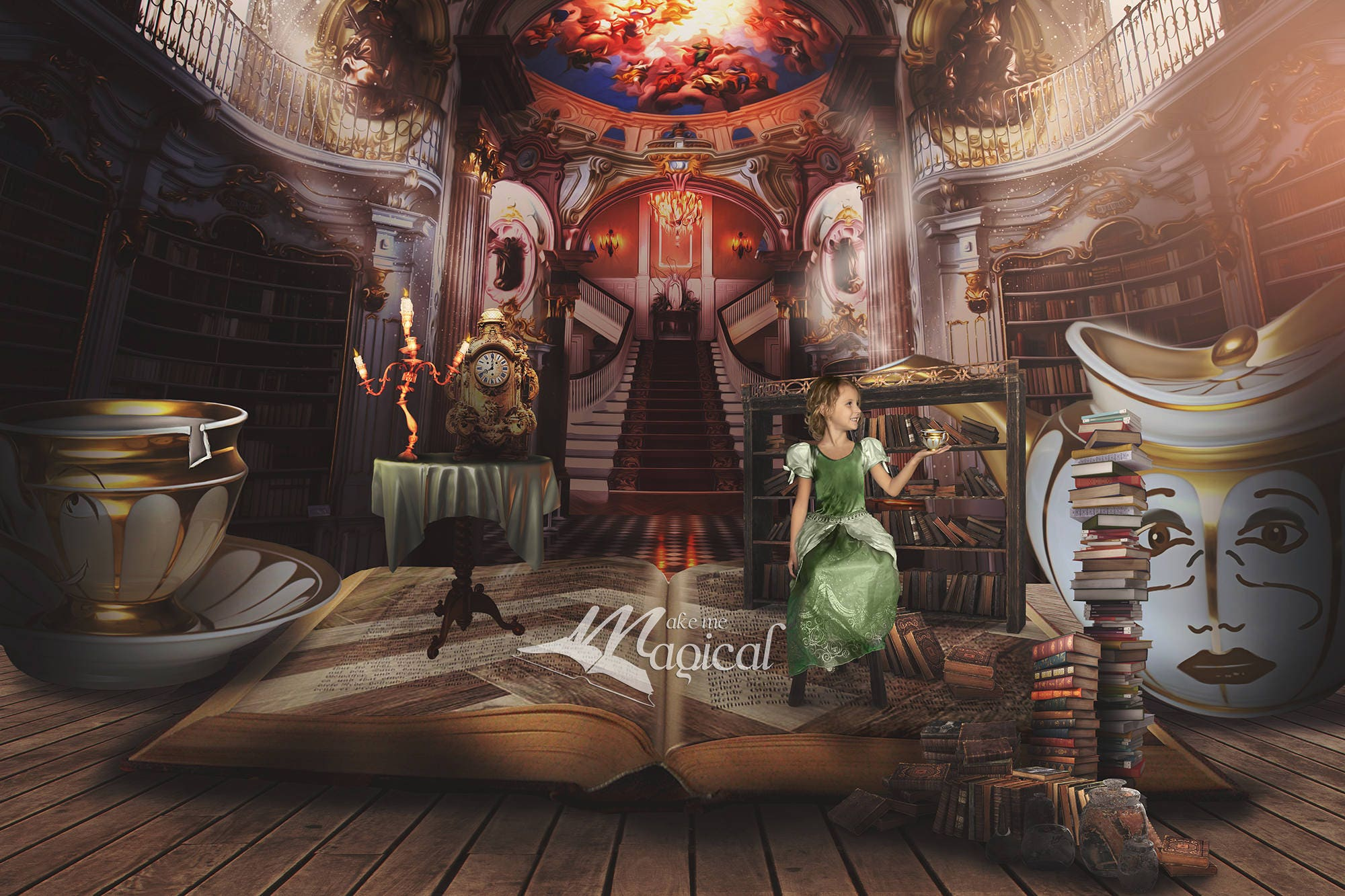Beauty And The Beast Backdrop Belle Library Fantasy Book