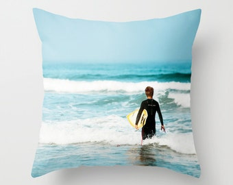 Surf Pillow - Surfer Pillow Case - Ocean Beach Pillow - Surfer Throw Pillow - 16x16 18x18 20x20 Pillow Cover