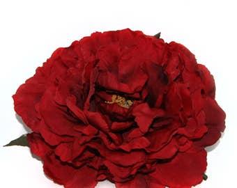 Deep Red Peony - Very Full - Artificial Flower Head, Silk Flower - PRE-ORDER