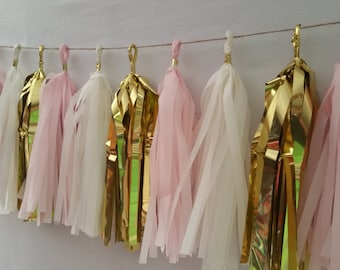 Only 15.99, Blush Pink White Gold,  20 Tassel Catholic Baptism Tissue Paper Garland, Paper Party Decorations, Baby Shower, Decorations