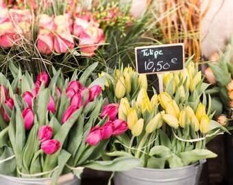 Paris Spring Photography - Market Tulips, Paris Kitchen Decor, French Travel Photograph, Large Wall Art