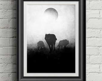 Wolfpack | Full Moon | Wolf Animal Wall Art | Forest Animals | Lunar Painting | Wolf Print | Wolves Painting | Wolf Pack Print