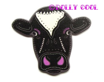 Sugar Skull Style Cow Brooch in Black White by Dolly Cool Friesian Day of the Dead
