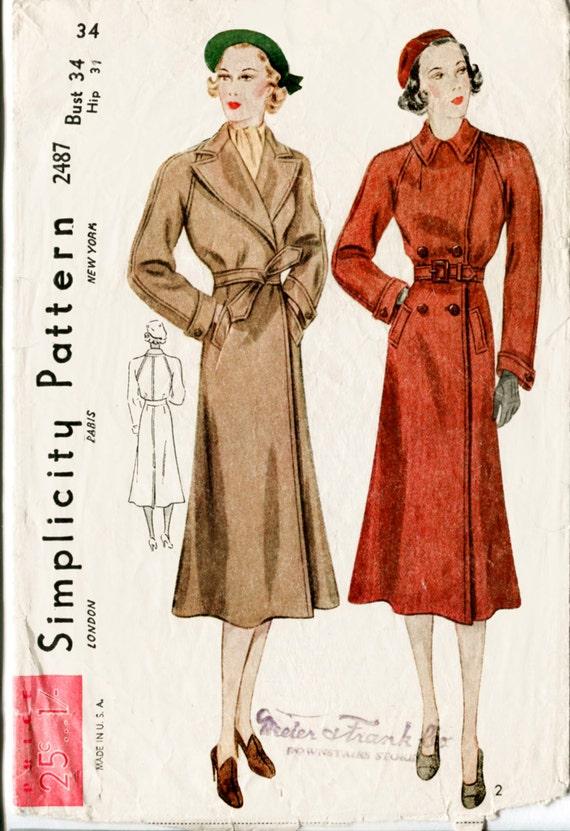 Vintage Schnittmuster der 1930er Jahre 30er Jahre Mantel