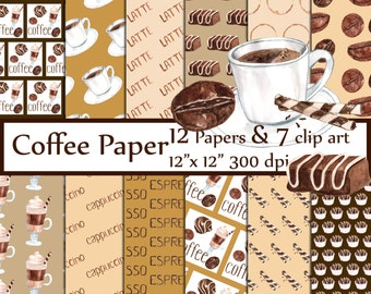 """Coffee digital paper: """"COFFEE PAPERS"""" Coffee clipart Coffee Bean Pattern Coffee Background Coffee stain Candy Mug pattern"""