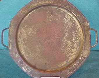 "Roycroft Hammered Copper Tray With Handles 17"" Octagonal"