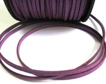 1 m cord suede purple glittery 3 mm