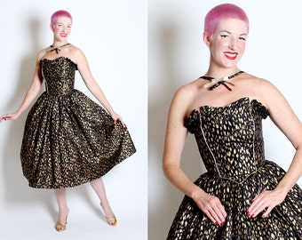 KILLER 1950's New Look Inspired Black Satin w/ Metallic Gold Leopard Print Party Dress w/ Reverse Halter Design w/ Gold Lame' Neck Bow - XS