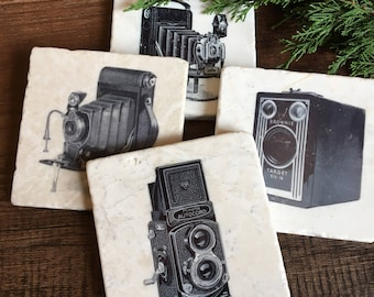 Vintage Camera stone coasters - set of four