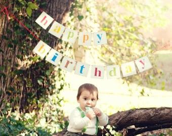 Happy Birthday Wood Banner 2 Piece Garland Shabby Chic Banner Multi Color Custom Wood Banner