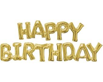 Happy Birthday Gold Phrase, Happy Birthday Mylar Balloons, Party Balloons, Silver, Gold, Script Balloons